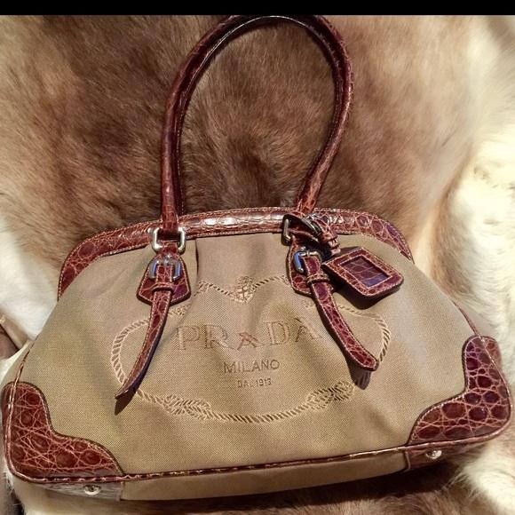 Prada Bags   Crocodile Trimmed Handbag Matching Wallet   Poshmark cc97565106